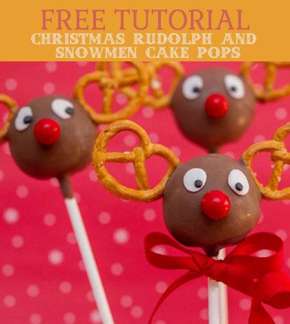 christmas rudolph and snowmen cake pops