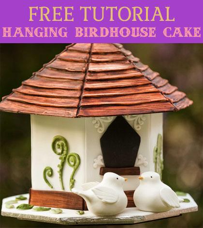 hanging birdhouse cake