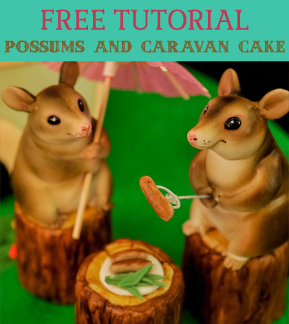 possums and caravan cake