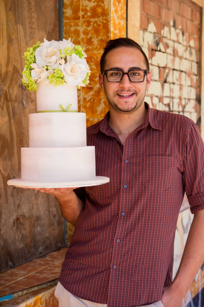 Roses and Hydrangea Wedding Cake