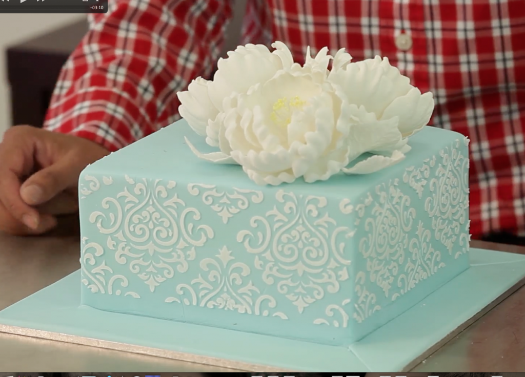 Aquare Cake with Peony and Stencilling
