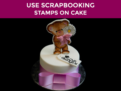 using scrapbooking stamps to decorate your cake