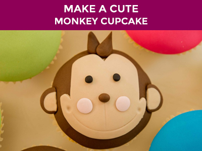 make a cute monkey cupcake