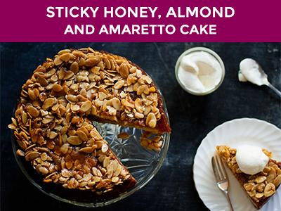 sticky honey almond and amaretto cake