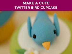 make a twitter bird cupcake