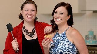 Baker Belinda Hibbert (left) made a cake replica of friend Lynette Stokie's wedding dress. Picture: Kylie Else
