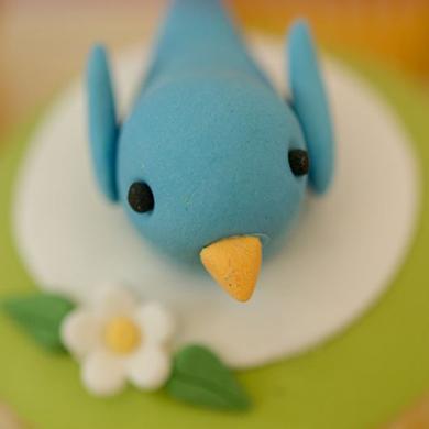 twitter bird cupcake