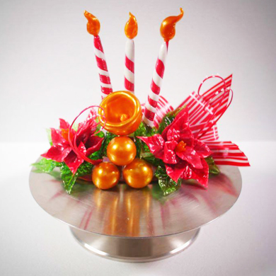 Poinsettia Isomalt Centerpiece cake decorating class tutorial