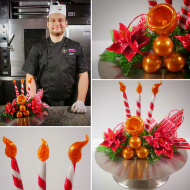 Cake Decorating Job Requirements : Poinsettia Isomalt Centerpiece - Learn Cake Decorating Online
