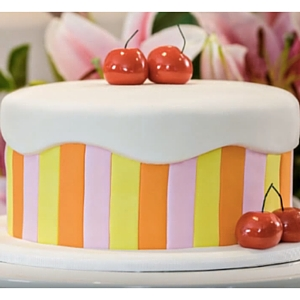 striped cherry cake tutorial