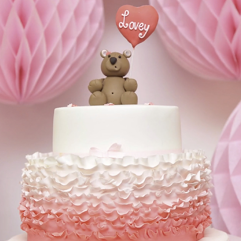 teddy with ruffles cake tutorial